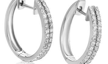 LB Exclusive LB Exclusive 14K White Gold ~1ct 2-Row Diamond Hoop Earrings
