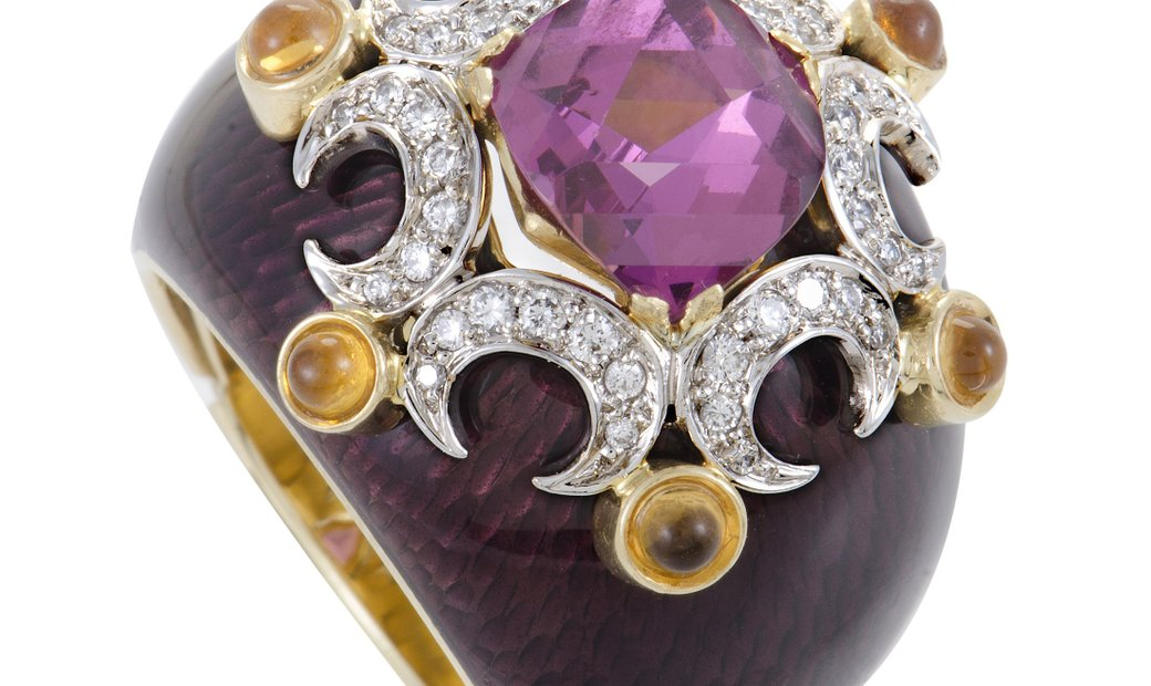 Non Branded Womens Enameled 18K Gold Diamond Pink Tourmaline and Citrine Ring