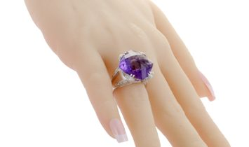 Non Branded Womens Italian Collection 18K White Diamond and Large Amethyst Ring