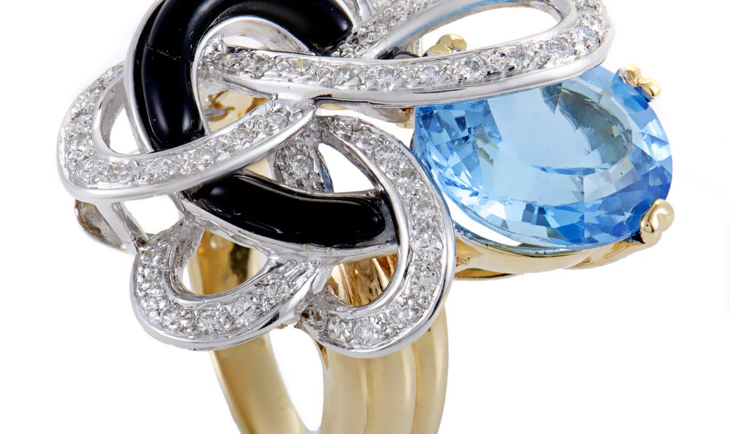 Non Branded Womens 18K Yellow and White Gold Diamond Topaz and Onyx Ring