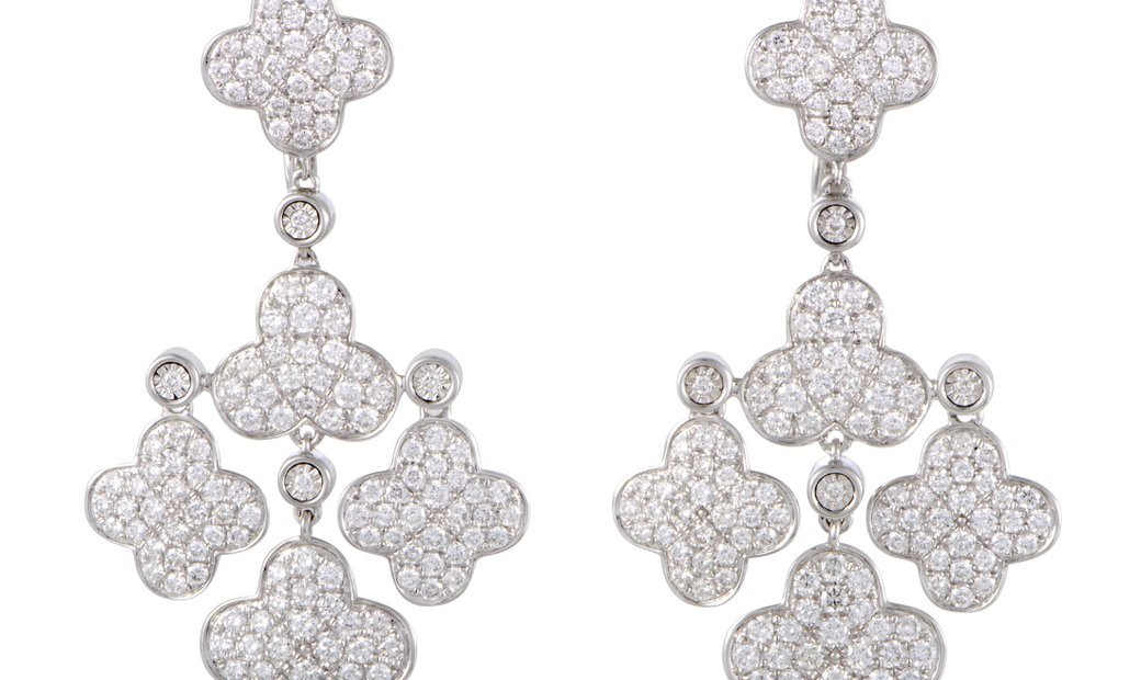 LB Exclusive LB Exclusive Womens 18K White Gold Full Diamond Pave Flower Chandelier Earrings