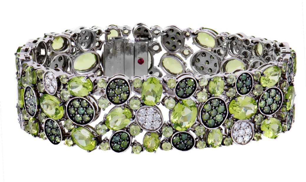 Roberto Coin Roberto Coin Shanghai Womens 18K White Gold Peridot and White and Green Diamond Pave Br