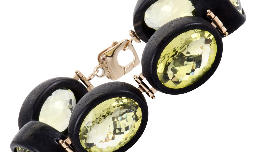 Roberto Coin Roberto Coin Ipanema Womens 18K Rose Gold Lemon Quartz and Black Wood 6 Oval Bracelet