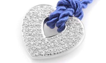 Poiray Poiray 18K White Gold Diamond Pendant & Periwinkle Blue Cord Necklace PPC0030RBLU