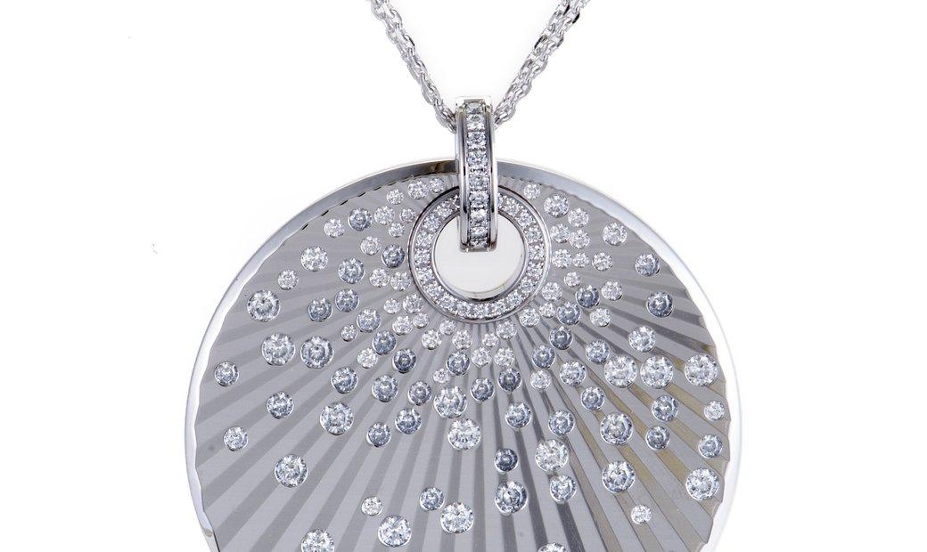 Chopard Chopard 18K White Gold Diamond Disc Pendant Necklace