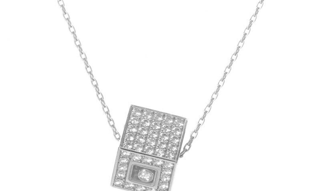 Chopard Chopard Happy Diamonds 18K White Gold Diamond Pave Cube Pendant Necklace