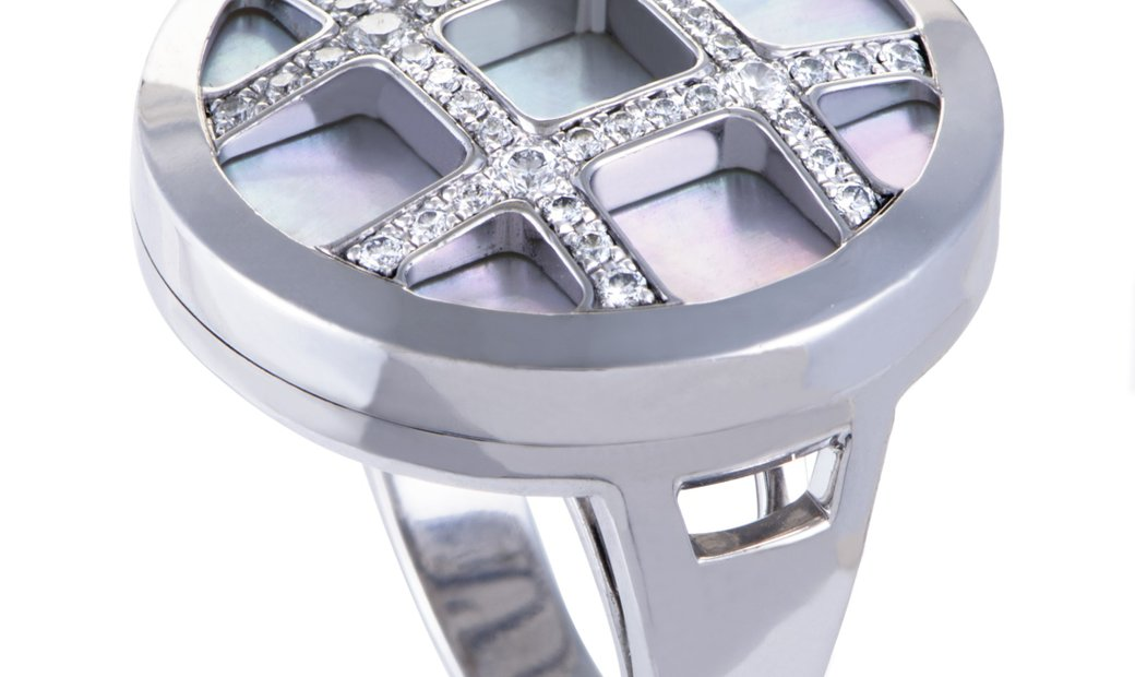Cartier Cartier Pasha Womens 18K White Gold Diamond and Mother of Pearl Cocktail Ring