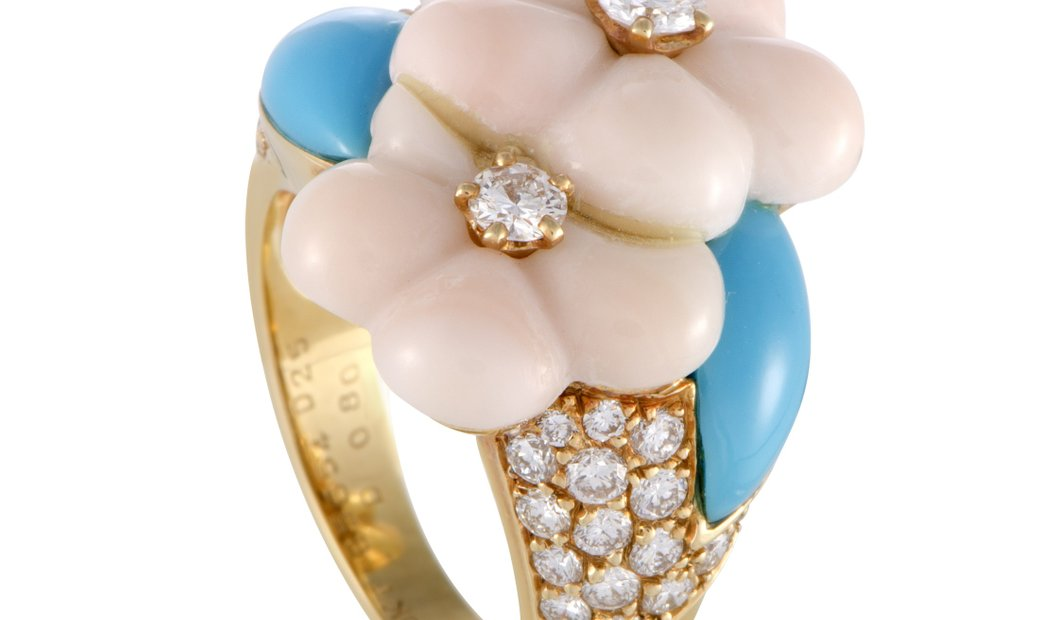 Van Cleef & Arpels Van Cleef & Arpels 18K Yellow Gold Diamond Coral and Turquoise Flower Ring