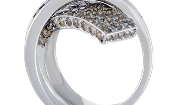 Non Branded 18K White Gold Brown Diamond and Sapphire Criss-Cross Ring