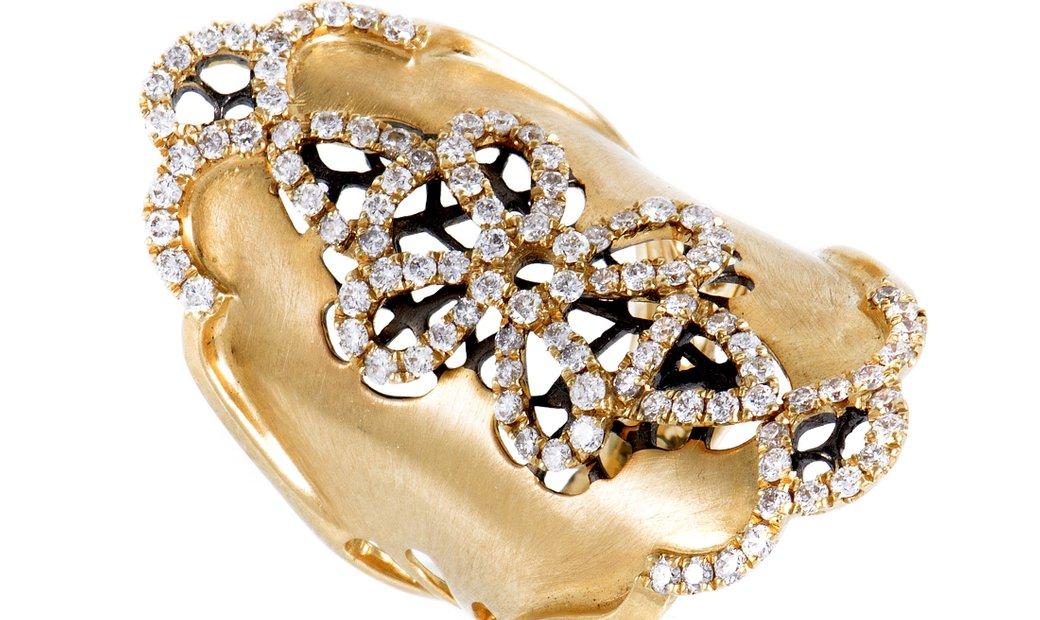 Non Branded Womens Long 18K Yellow Gold Diamond Flower Band Ring