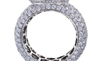 Non Branded Womens 18K White and Yellow Gold Full Diamond Pave Band Ring