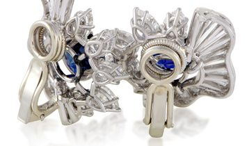 LB Exclusive LB Exclusive Womens Platinum Diamond and Blue Sapphire Clip-on Earrings