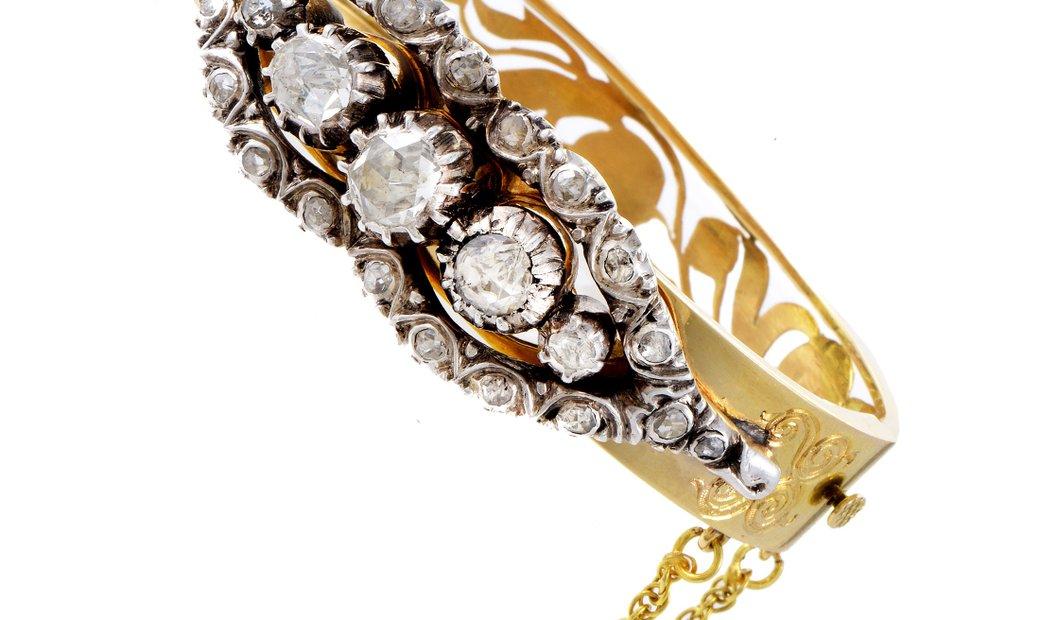 LB Exclusive LB Exclusive Antique Women's 18K Yellow Gold & Silver Rose Cut Diamond Bangle Bracelet
