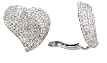 LB Exclusive LB Exclusive 18K White Gold Diamond Micro Pave Clip-on Heart Earrings