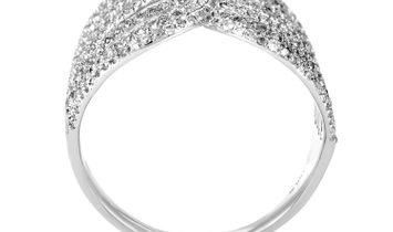 Non Branded 18K White Gold Openwork Diamond Band Ring