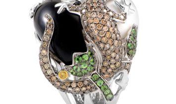 Non Branded Women's 18K White Gold Diamond Lizard & Gemstone Ring KO1548BZTVOX
