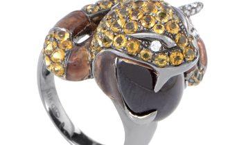 Non Branded Women's 18K White Gold Diamond & Gemstone Snake Ring 200-00139