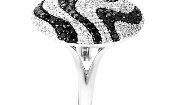 Non Branded 18K White Black & White Diamond Swirl Ring C-138