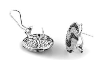 LB Exclusive LB Exclusive 18K White Gold Black & White Diamond Huggie Earrings