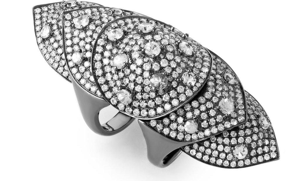 Non Branded 18K White Gold & Diamond Full-Finger Ring R14746-9