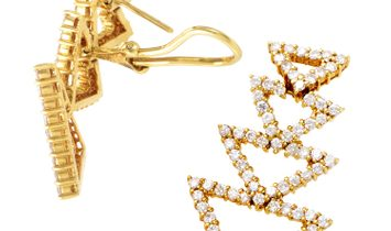 LB Exclusive LB Exclusive 18K Yellow Gold Diamond Triangle Earrings ST-12