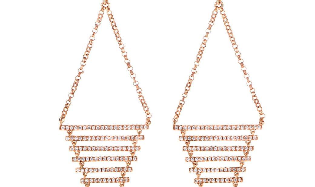 Non Branded 18K Rose Gold Diamond Earrings SE15951RRZ