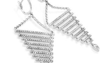 Non Branded 18K White Gold Diamond Dangle Earrings SE15951RBZ
