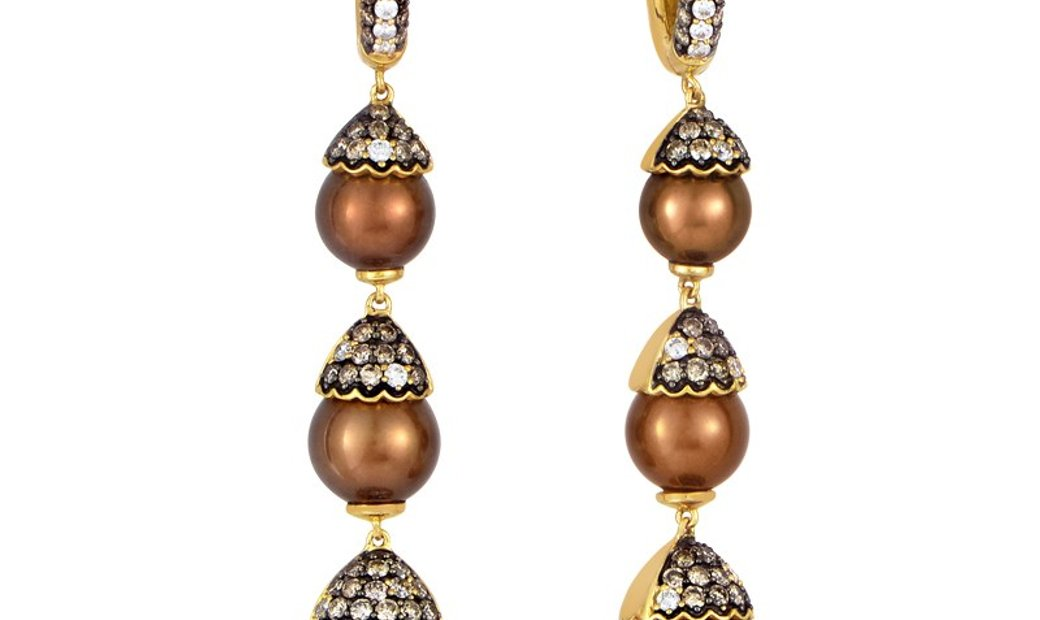 LB Exclusive 18K Yellow Gold Diamond and Brown Pearl Drop Earrings