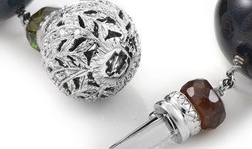 LB Exclusive LB Exclusive Italian Collection 18K White Gold Multi-Tourmaline & Diamond Choker Neckla