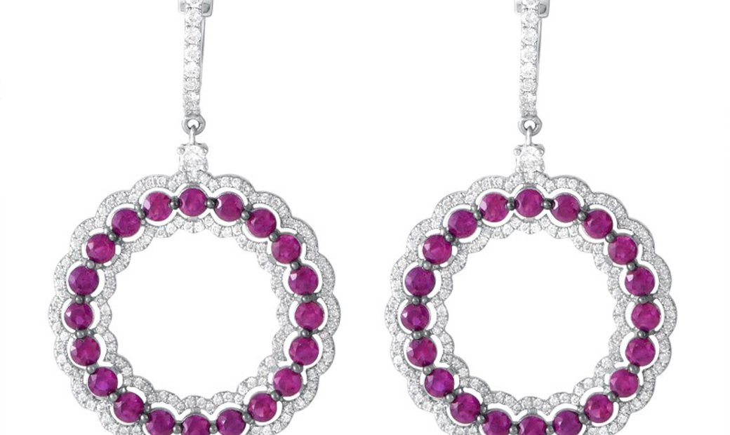 Non Branded 18K White Gold Diamond and Rubellite Dangle Earrings