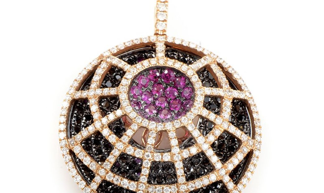 French Collection French Collection 18K Rose Gold Multi-Diamond & Pink Sapphire Spiderweb Pendant
