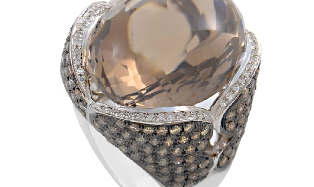 French Collection French Collection 18K White Gold Smokey Topaz & Brown Diamond Ring HF02020R-W-ST