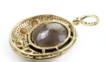 French Collection French Collection 18K Yellow Gold Brown Gemstone & Diamond Pendant