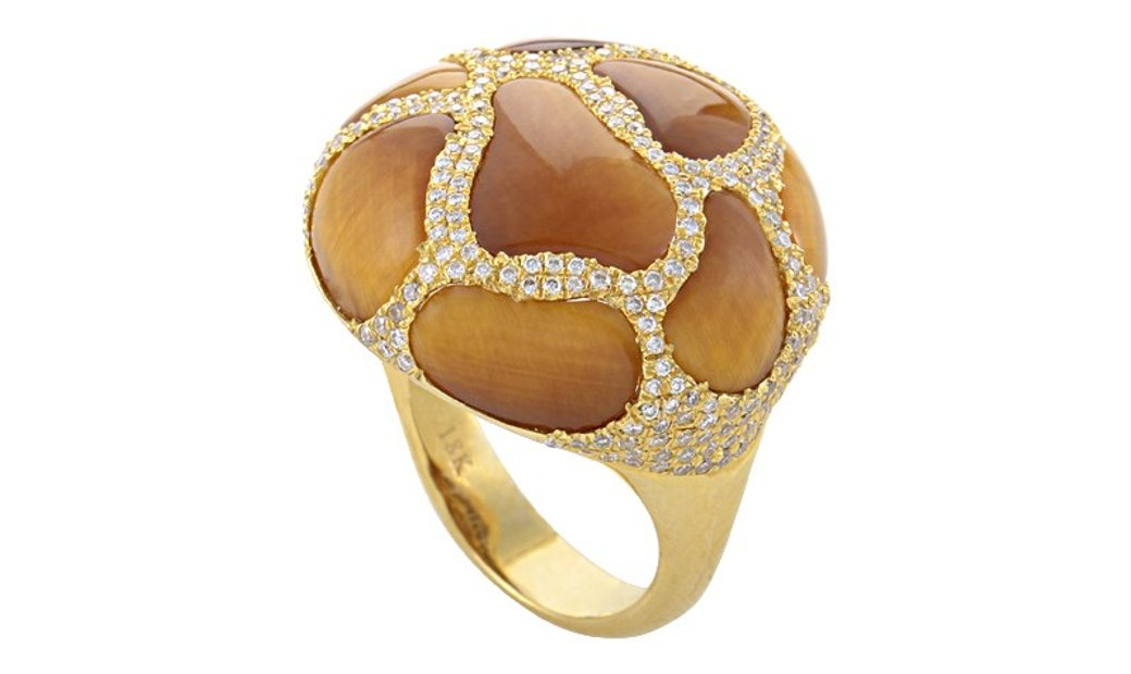 French Collection French Collection 18K Yellow Gold Tiger's Eye Diamond Ring HF04064R-Y-TE