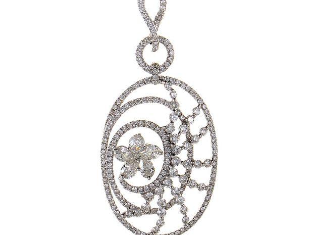 LB Exclusive 18K White Gold Diamond Flower Openwork Penda... (691447)