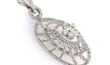 LB Exclusive 18K White Gold Diamond Flower Openwork Pendant CPD8781