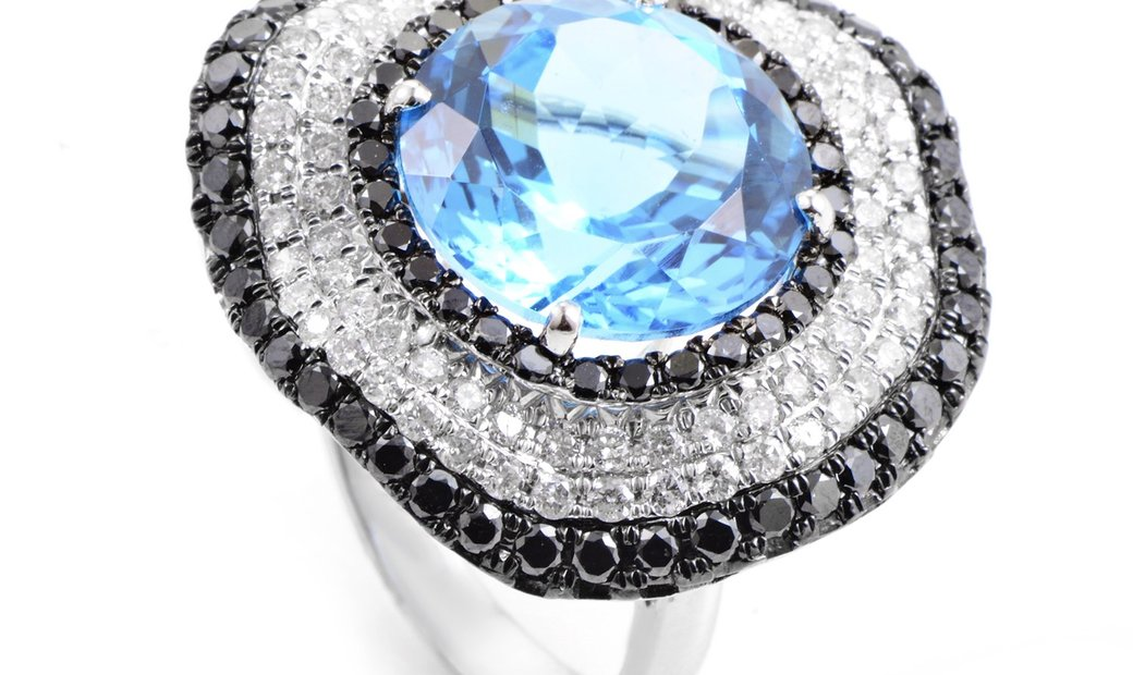 French Collection French Collection 18K White Gold Diamond & Topaz Ring RC8-10860WTB