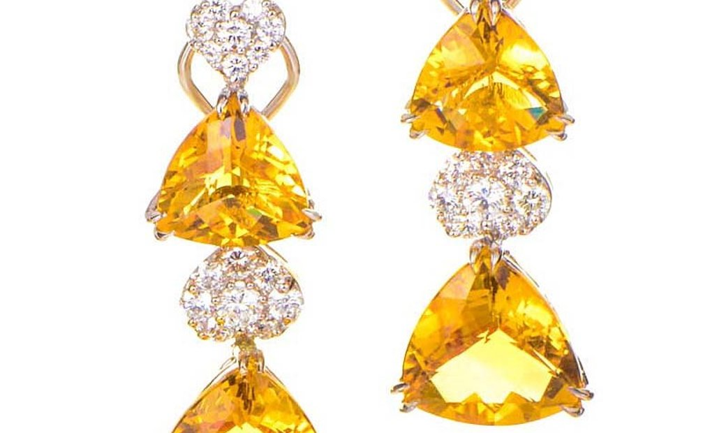 LB Exclusive LB Exclusive 18K White Gold Diamond and Citrine Drop Earrings