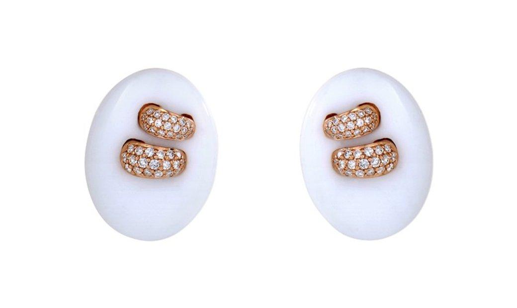 Non Branded 18K Rose Gold White Onyx & Diamond Button Earrings SEGA84321RRZ