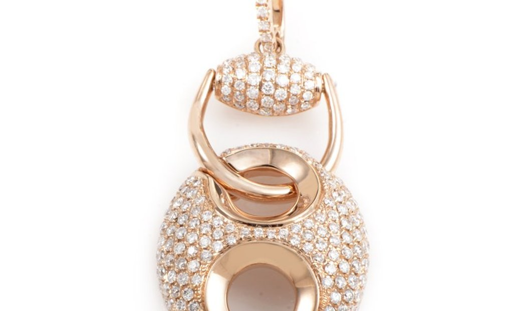 Non Branded 18K Rose Gold Diamond Pave Enhancer Pendant PA184821RRZ