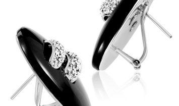 Non Branded Women's 18K White Gold Diamond & Onyx Button Earrings SEGA84321RBZ
