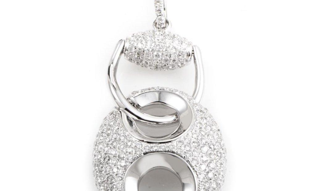 Non Branded 18K White Gold Diamond Pave Enhancer Pendant PA184821RBZ