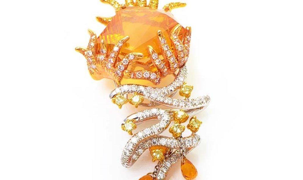Non Branded 18K Multi-Gold Citrine & Diamond Pendant 0514G