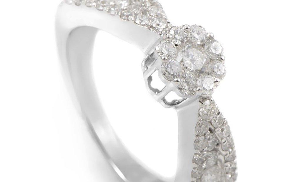 Non Branded 14K White Gold Diamond Promise Ring SVR010941OOW