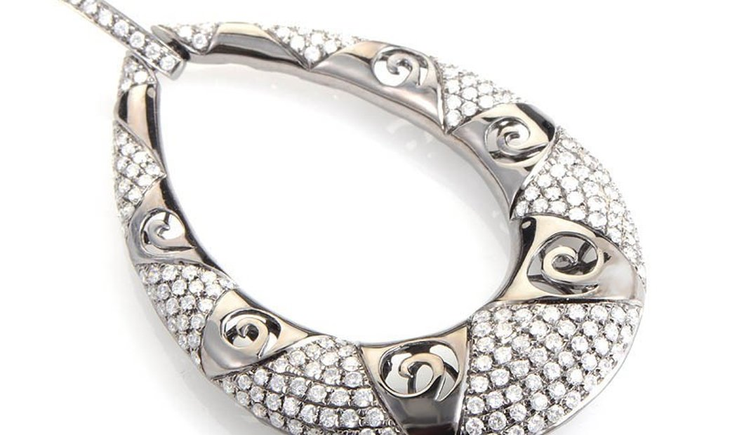 Non Branded 18K White Gold Diamond Set Teardrop Pendant PA2244NBZ/BR