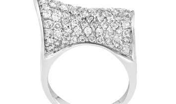 Non Branded Curved 18K White Gold Diamond Pave Ring CRD8535
