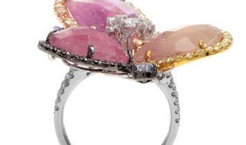 Non Branded 18K Multi-Gold Quartz & Diamond Ring CRR9760