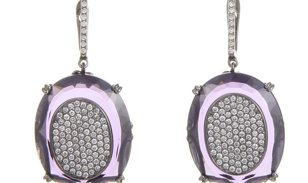 French Collection French Collection 18K White Gold Diamond Pave Amethyst Earrings