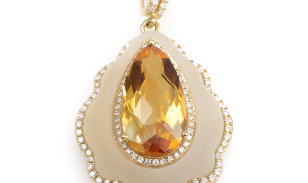 Non Branded 18K Yellow Gold Quartz & Citrine Enhancer Pendant PAP69451RMZZCI
