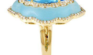 Non Branded Women's 18K Yellow Gold Diamond & Blue Gemstone Ring KO79451RMZZTO
